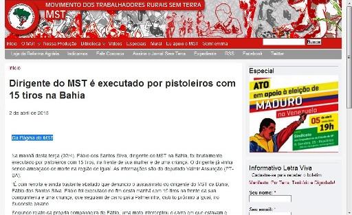 Foto: Reprodução página do MST