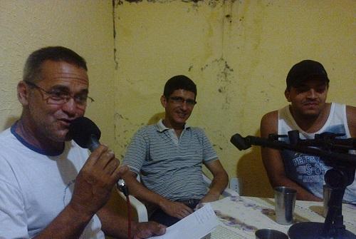 Valci Teixeira (Coordenador Municipal de Esportes), Ney Miranda e Felipe Braga (104,9 FM)
