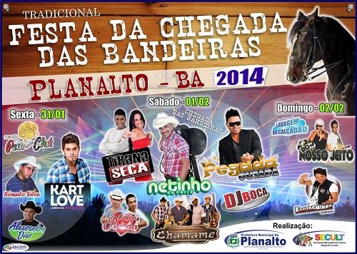 Cartaz da Festa da Chegada das Bandeiras em Planalto - BA