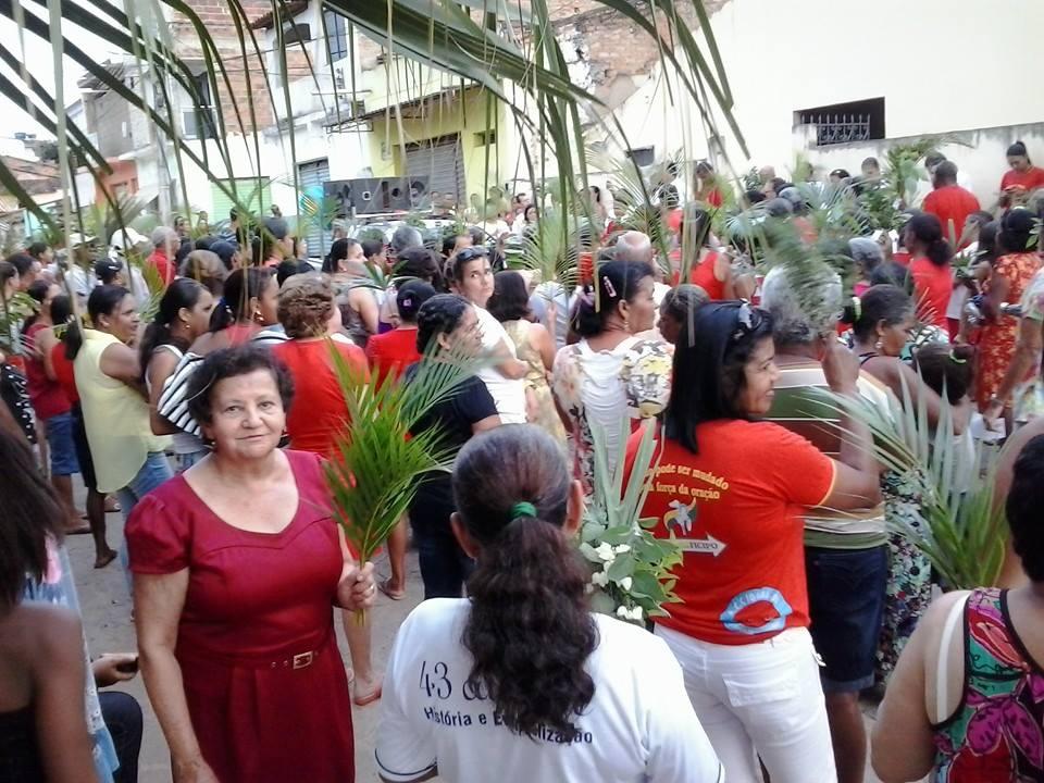 Procissão de Ramos em Iguaí, realizado neste domingo (13) | Foto: Reprodução do Facebook