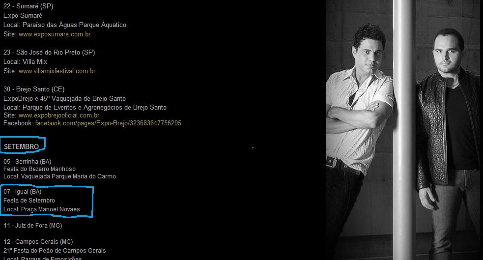 Foto: Reprodução  site oficial da dupla Zezé di Camargo e Luciano