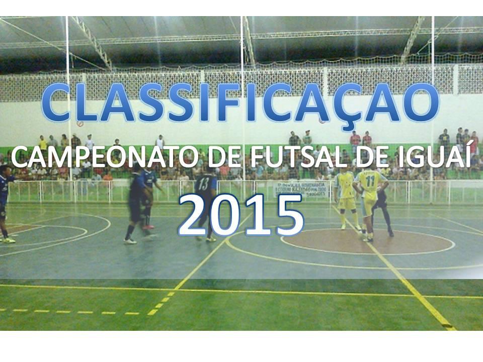 CLASSIFICAÇÃO CAMPEONATO DE FUTSAL DE IGUAÍ 2015