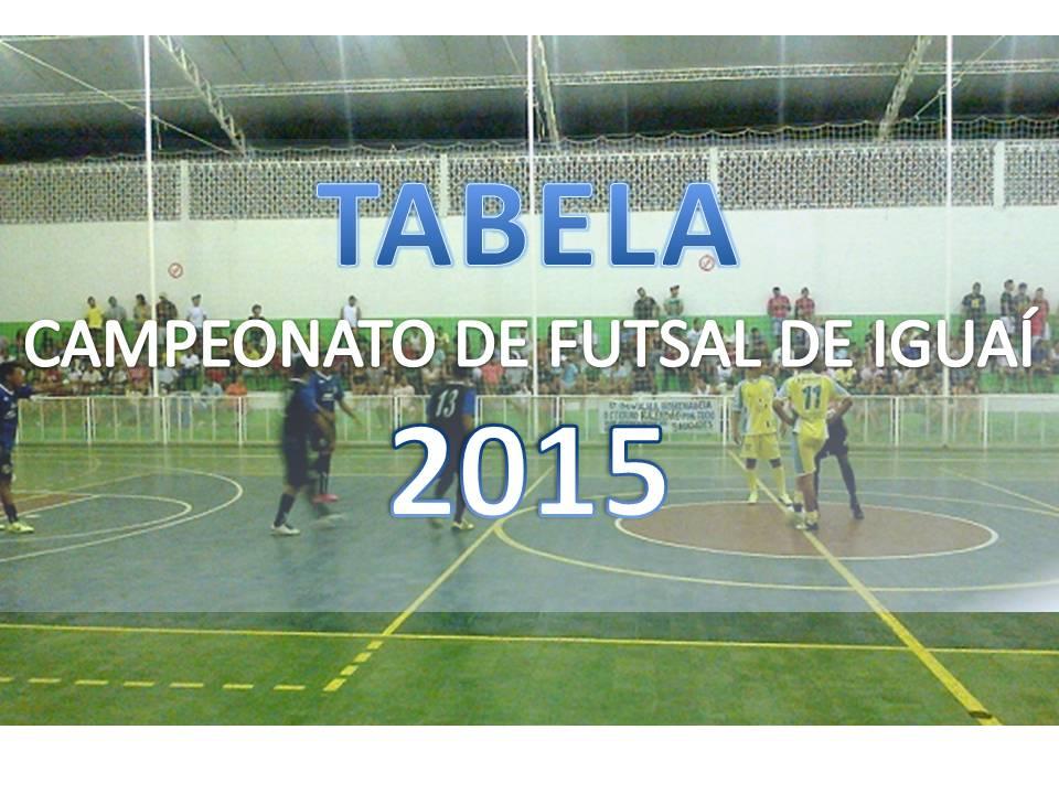 TABELA CAMPEONATO DE FUTSAL DE IGUAÍ 2015