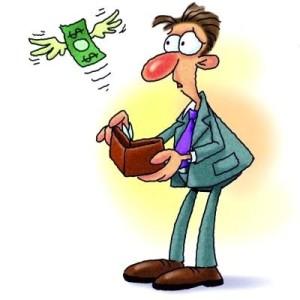 Dinheiro voando (charge)