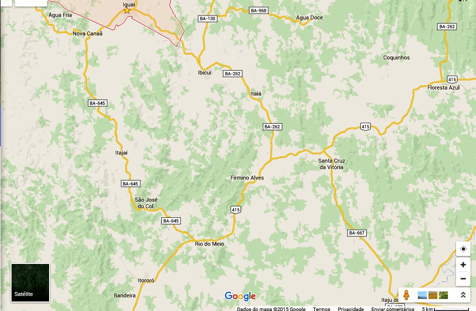 Cidades da região também sentiram pequenos tremores (Foto: Reprodução Google/ IguaíBAHIA)