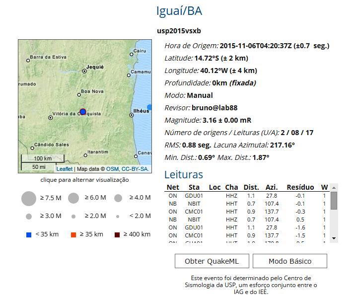 Mais Informações Sobre o tremor em Iguaí e Região.