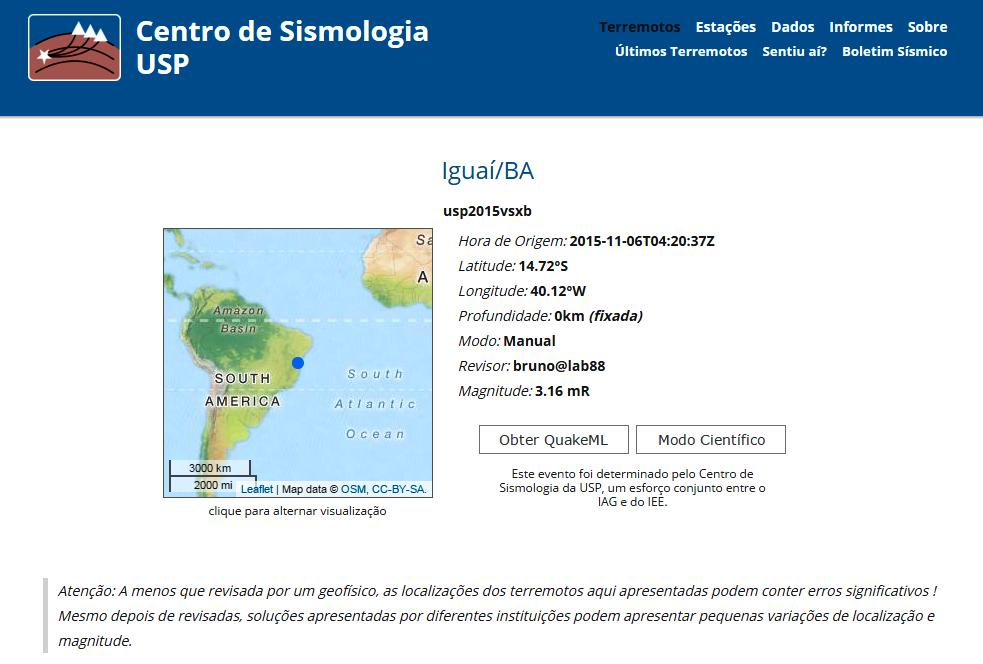 Centro de Sismologia da Universidade de São Paulo / USP